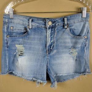 Indigo Rein Distressed Cut Off Shorts Sz 11